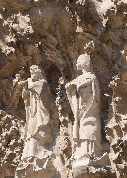Sagrada Familia Greeting Card featuring the photograph Sagrada Familia Nativity Facade Detail by Matthias Hauser