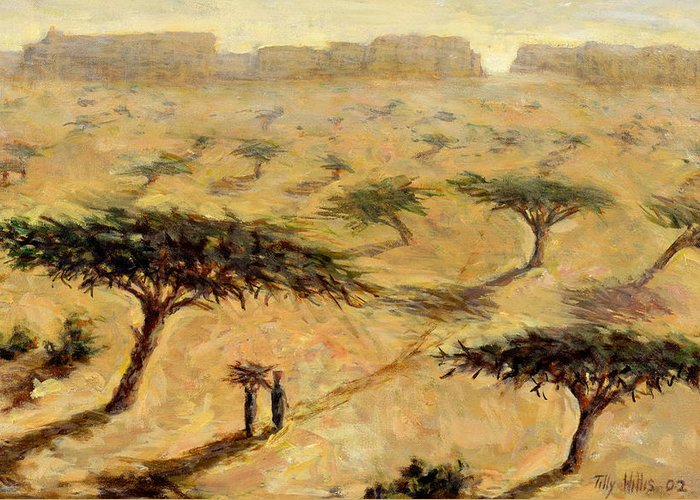 African; Arid; Tree; Acacia Trees; Plain; Plains; Barren; Dry; Shadows; Heat; Hot; Desert; Heat; Landscape; Sahelian; Acacia; Africa Greeting Card featuring the painting Sahelian Landscape by Tilly Willis
