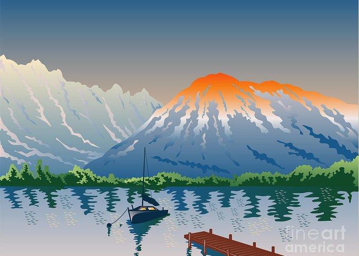 Illustration Greeting Card featuring the digital art Sailboat Jetty Mountains Retro by Aloysius Patrimonio