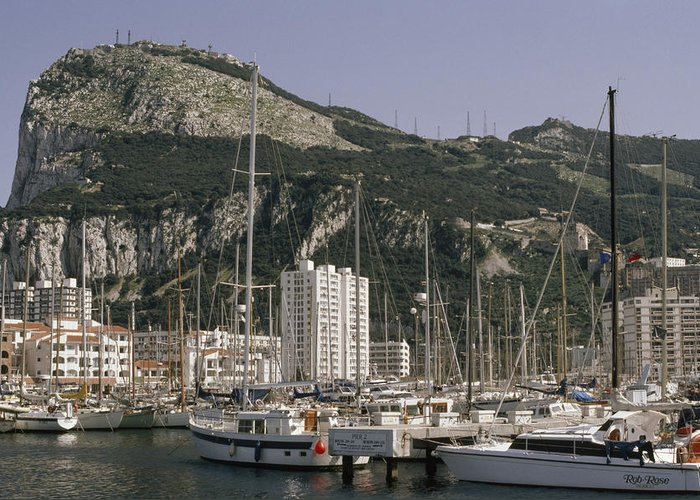 Outdoors Greeting Card featuring the photograph Sailboats Moored In Gibraltar Bay by Lynn Abercrombie