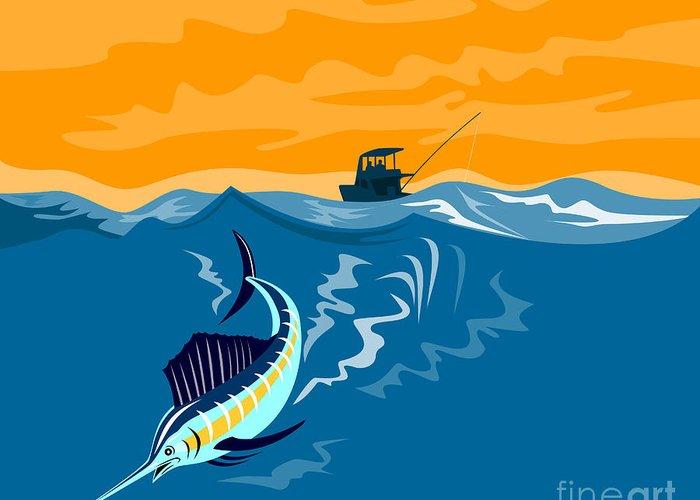 Swordfish Greeting Card featuring the digital art Sailfish Fish Jumping Retro by Aloysius Patrimonio