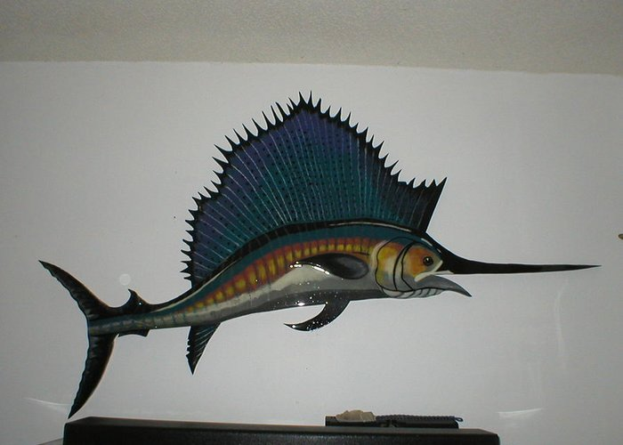 Sailfish Greeting Card featuring the mixed media Sailfish by Val Oconnor