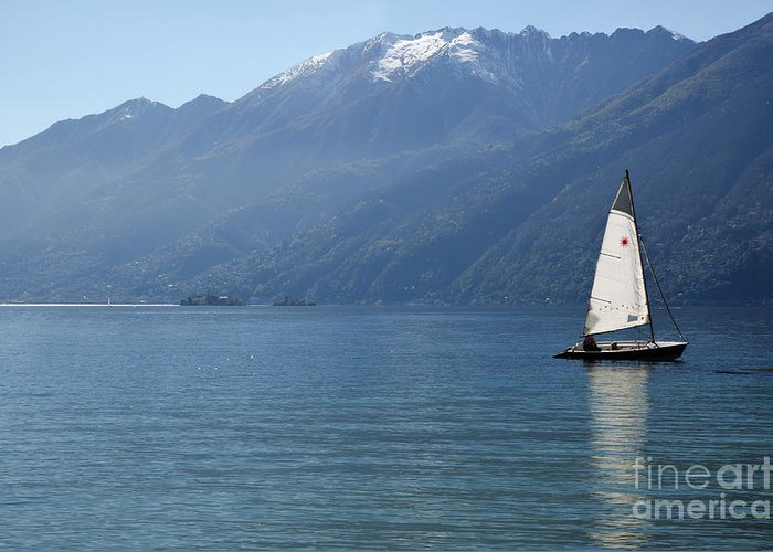 Sailing Boat Greeting Card featuring the photograph Sailing Boat And Mountain by Mats Silvan