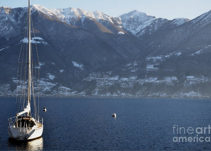 Sailing Boat Greeting Card featuring the photograph Sailing Boat On A Lake by Mats Silvan
