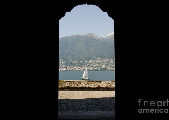 Sailing Boat Greeting Card featuring the photograph Sailing Boat Through An Open Door by Mats Silvan