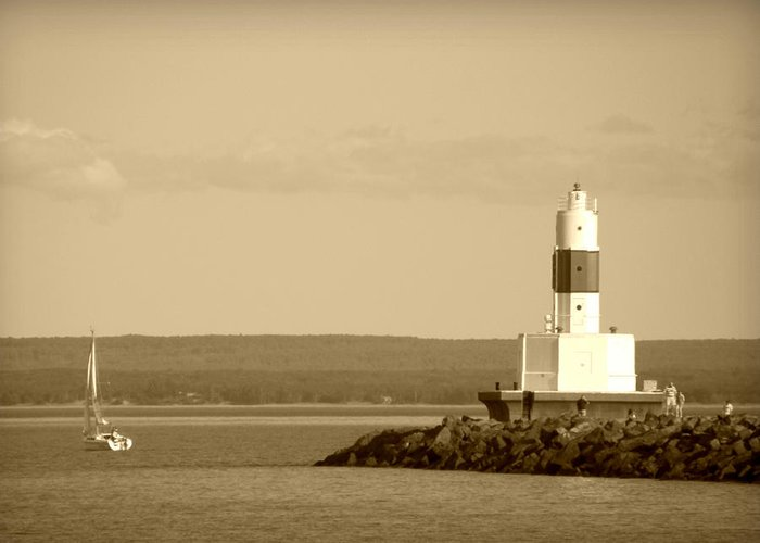 Marquette Greeting Card featuring the photograph Sailing By The Marquette Presque Isle Lighthouse by Mark J Seefeldt