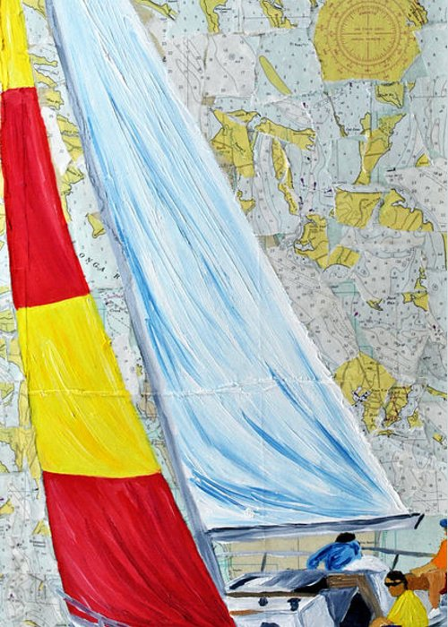 Sailing Greeting Card featuring the painting Sailing From The Charts by Michael Lee