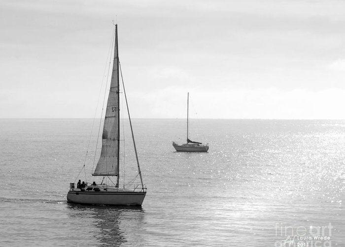 Sailing Greeting Card featuring the photograph Sailing In Calm Waters by Artist and Photographer Laura Wrede