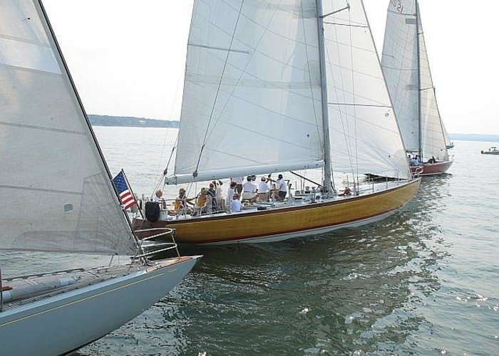 Sag Harbor Greeting Card featuring the photograph Sailing In Sag Harbor by Colleen Rugg