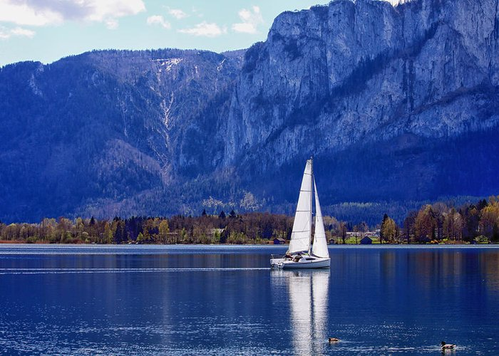 Sail Greeting Card featuring the photograph Sailing On Mondsee Lake by Lauri Novak