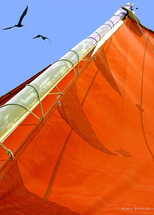 Sailing Greeting Card featuring the digital art Sails Five by Kathleen Horner
