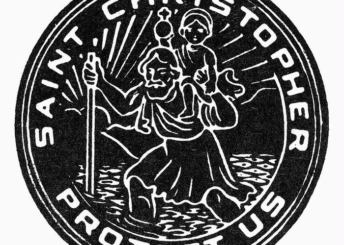 Christianity Greeting Card featuring the photograph Saint Christopher Medal by Granger