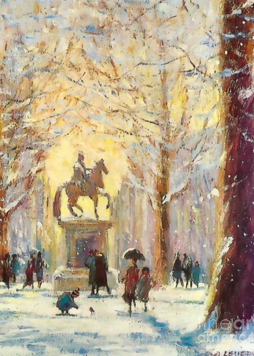 Snow Greeting Card featuring the mixed media Saint James Square London...a Friendly Robin by Jeanette Leuers