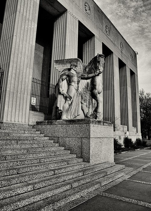 Statue Greeting Card featuring the photograph Saint Louis Soldiers Memorial Exterior Black And White by Joshua House