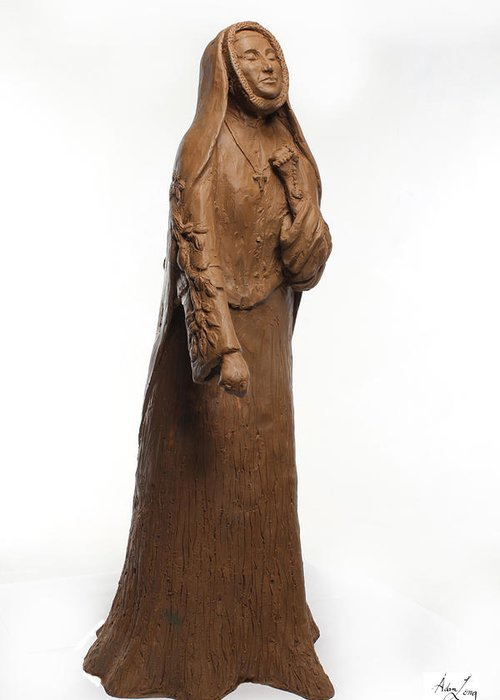 Saint Greeting Card featuring the sculpture Saint Rose Philippine Duchesne by Adam Long