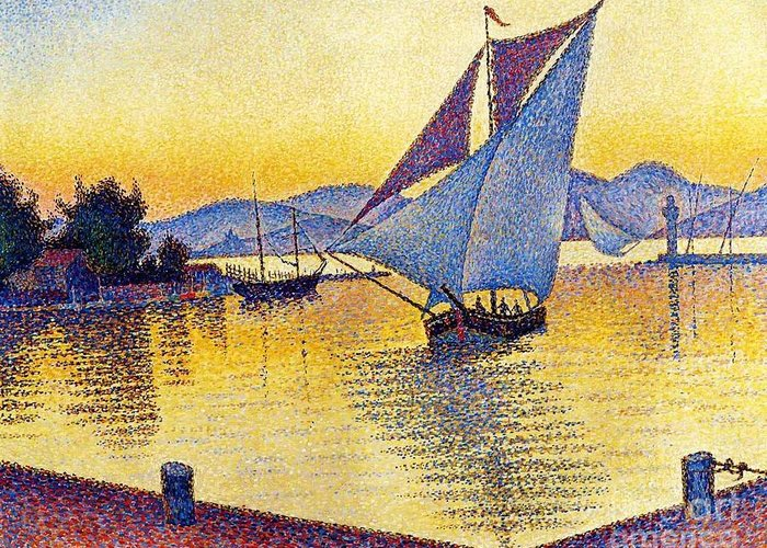 Pd Greeting Card featuring the painting Saint Tropez At Sunset by Pg Reproductions