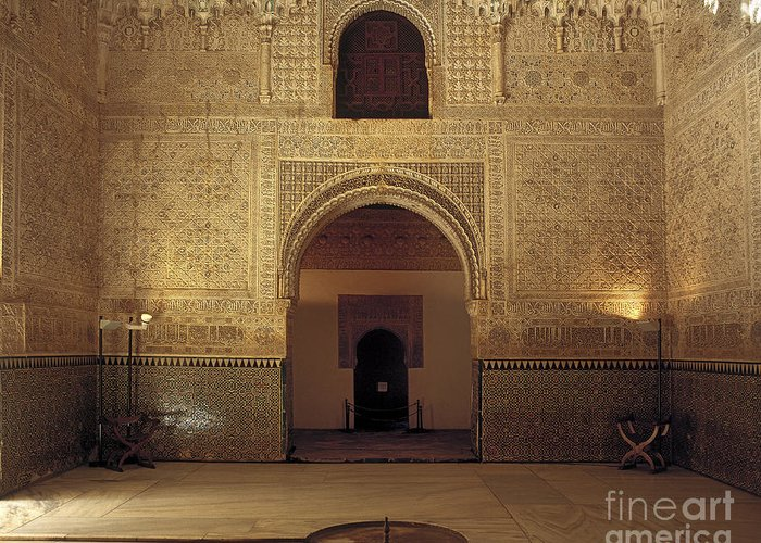 The Alhambra Greeting Card featuring the photograph Sala De Las Dos Hermanas by Guido Montanes Castillo