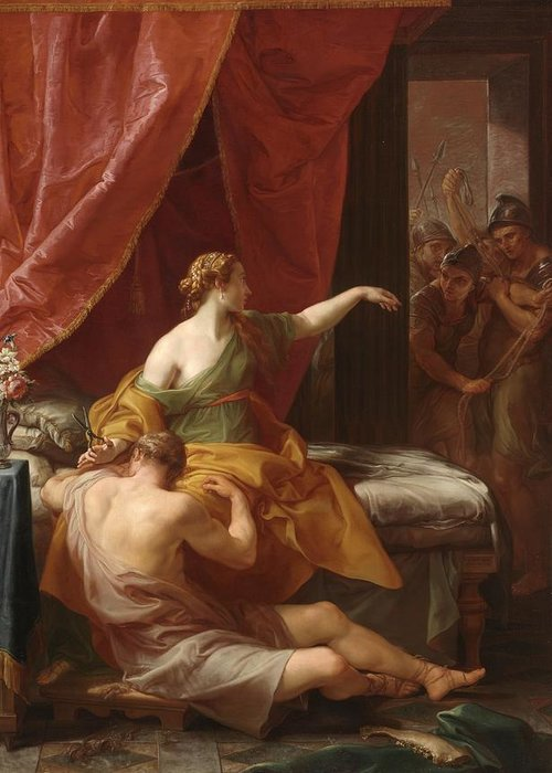Samson Greeting Card featuring the painting Samson And Delilah by Pompeo Girolamo Batoni