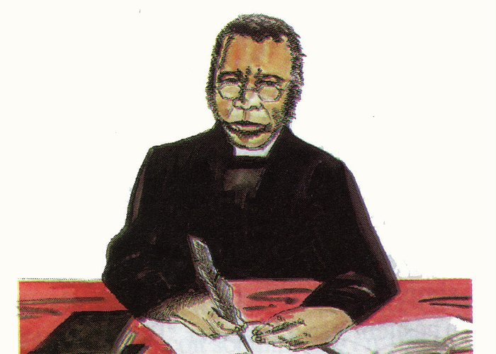 Portraits Greeting Card featuring the painting Samuel Ajayi Crowther by Emmanuel Baliyanga