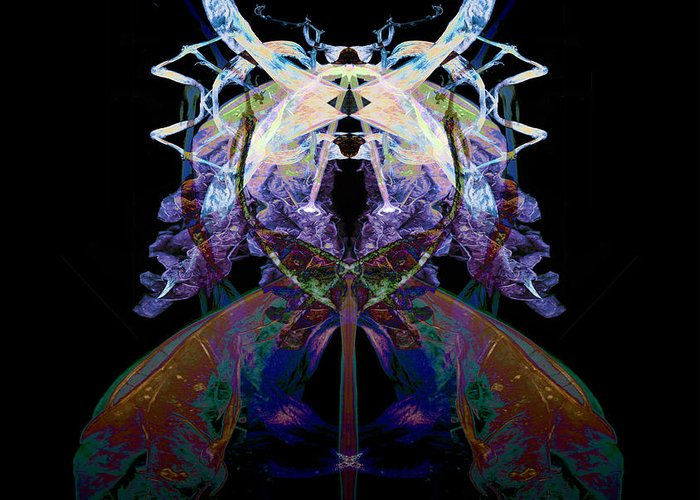 Psychedelic Greeting Card featuring the photograph Samurai Bug Plant by David Kleinsasser