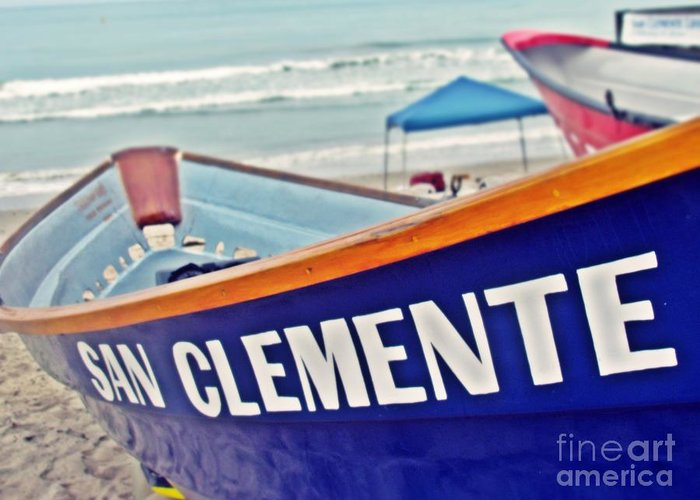 Dory Boat Greeting Card featuring the photograph San Clemente Dory Boat by Traci Lehman