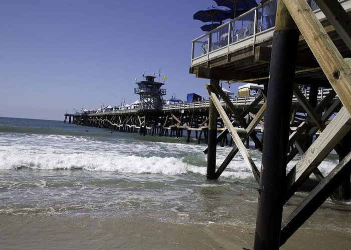 San Clemente Greeting Card featuring the photograph San Clemente Pier by Joenne Hartley