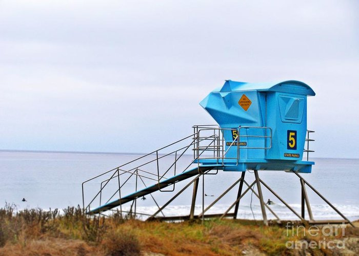 San Clemente State Beach Greeting Card featuring the photograph San Clemente State Beach Lifeguard Tower 5 by Traci Lehman