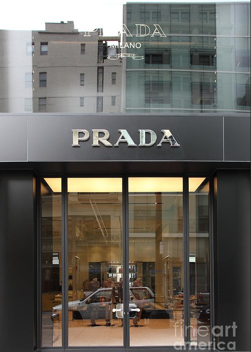 San Francisco Greeting Card featuring the photograph San Francisco - Maiden Lane - Prada Fashion Store - 5d17798 by Wingsdomain Art and Photography