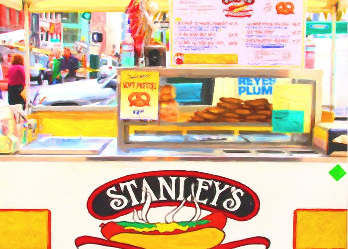 San Francisco Greeting Card featuring the photograph San Francisco - Stanley's Steamers Hot Dog Stand - 5d17929 - Square - Painterly by Wingsdomain Art and Photography