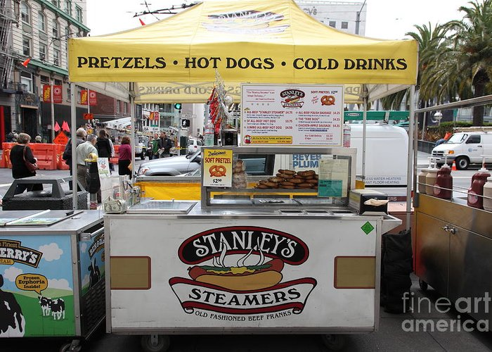 San Francisco Greeting Card featuring the photograph San Francisco - Stanley's Steamers Hot Dog Stand - 5d17929 by Wingsdomain Art and Photography