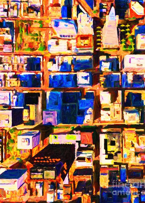 San Francisco Greeting Card featuring the photograph San Francisco Birdseye Abstract . Painterly by Wingsdomain Art and Photography