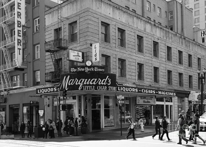 Black And White Greeting Card featuring the photograph San Francisco Marquards Little Cigar Store Powell Street - 5d17950 - Black And White by Wingsdomain Art and Photography