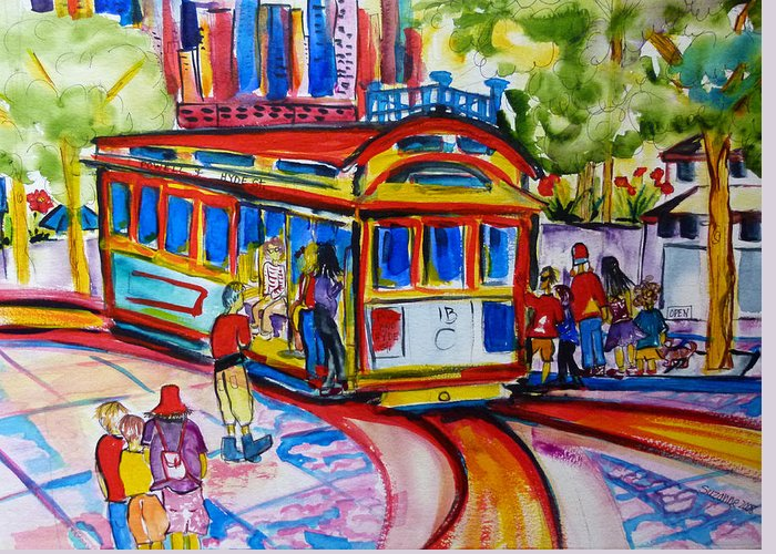 San Francisco Trolley Greeting Card featuring the painting San Francisco Trolley by Suzanne Willis