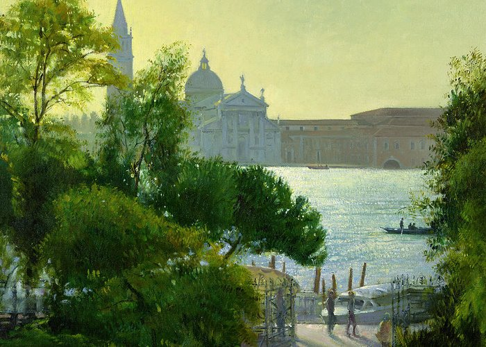 Maggiore; Canal; Gondola; Cathedral; Sunset; View; Venice; Trees Greeting Card featuring the painting San Giorgio - Venice by Timothy Easton