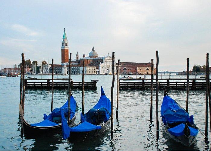 San Giorgio Maggiore Is One Of The Islands Of Venice Greeting Card featuring the photograph San Giorgio Maggiore And Gondolas by David Waldo