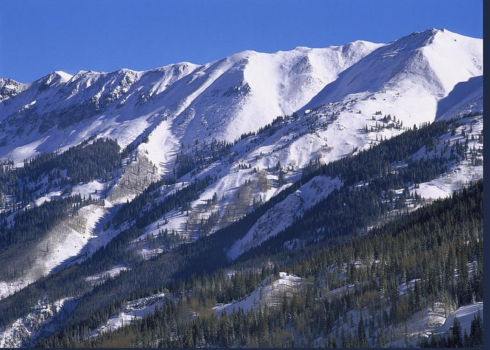00175020 Greeting Card featuring the photograph San Juan Mountains Covered In Snow by Tim Fitzharris