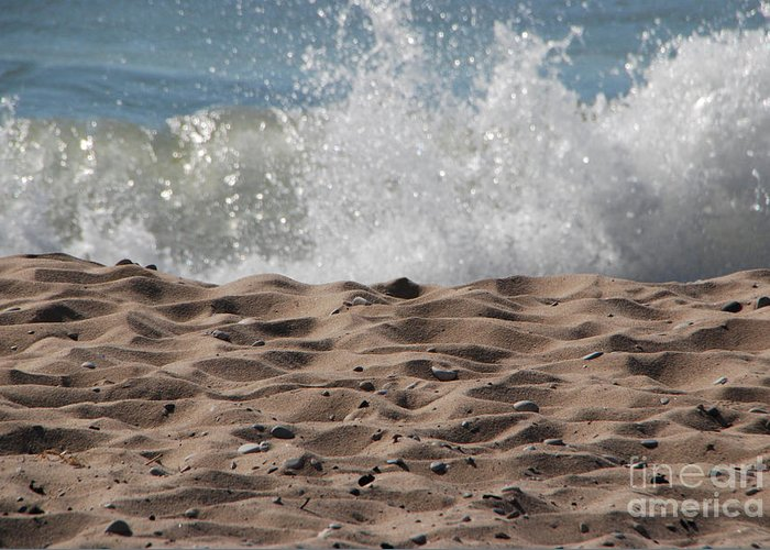 Beach Greeting Card featuring the photograph Sand And Surf by Grace Grogan