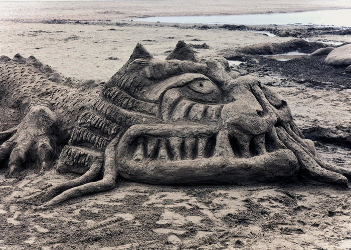 Sand Greeting Card featuring the photograph Sand Dragon Sculputure by Garry Gay