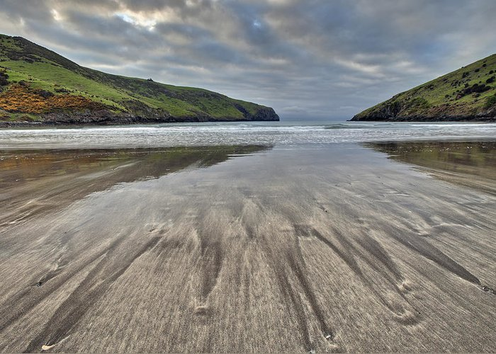 00479597 Greeting Card featuring the photograph Sand Patterns At Dawn Otanerito Beach by Colin Monteath