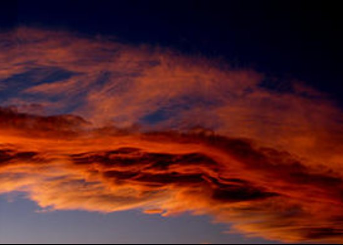 Sandia Heights Greeting Card featuring the photograph Sandia Heights Fiery Sunset Panoramic by Aaron Burrows