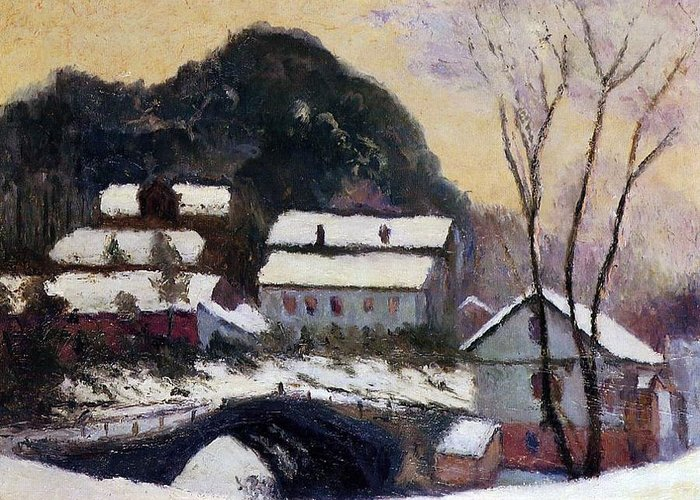 Winter Greeting Card featuring the painting Sandviken Norway by Claude Monet