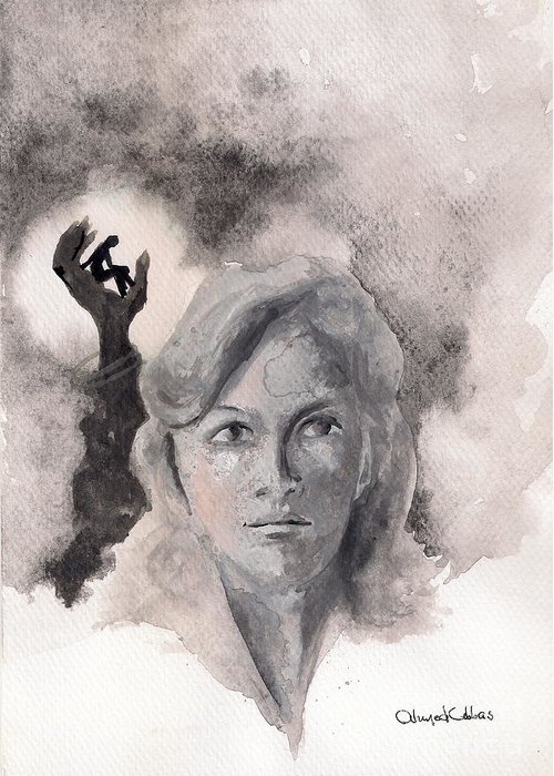 Woman Portrait Greeting Card featuring the painting Sans Pitie by Ahmed Abbas