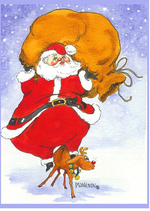 Santa Greeting Card featuring the painting Santa And Rudolph by Peggy Wilson
