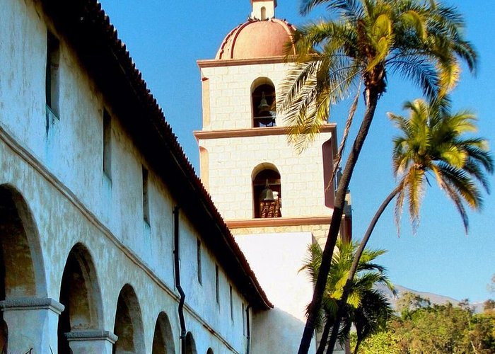 Landscape Greeting Card featuring the photograph Santa Barbara Mission With Palm Trees by Phil Huettner