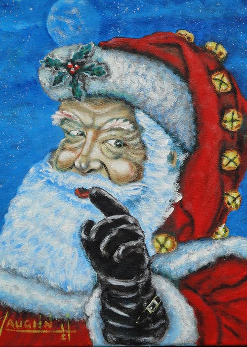 Christmas Greeting Card featuring the painting Santa Claus by Charles Vaughn