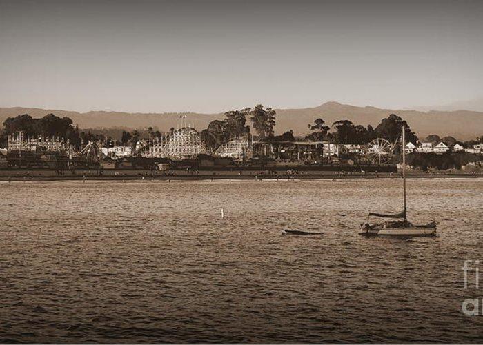 Santa Cruz Greeting Card featuring the photograph Santa Cruz Boardwalk Sepia by Garnett Jaeger