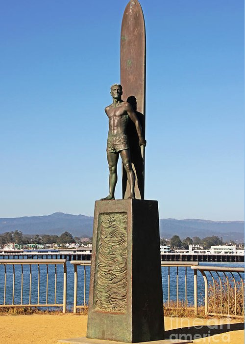 Santa Cruz Greeting Card featuring the photograph Santa Cruz Surfer Statue by Paul Topp