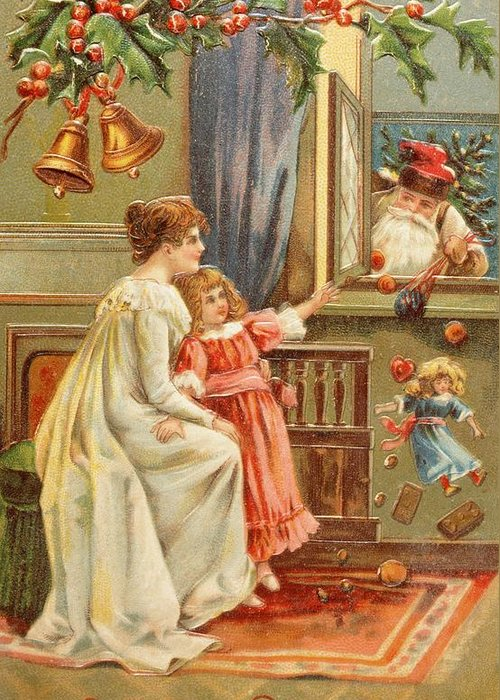 A Merry Christmas; Card; Santa Claus; Father; Mother; Child; Daughter; Girl; Presents Greeting Card featuring the painting Santa's Gifts by English School