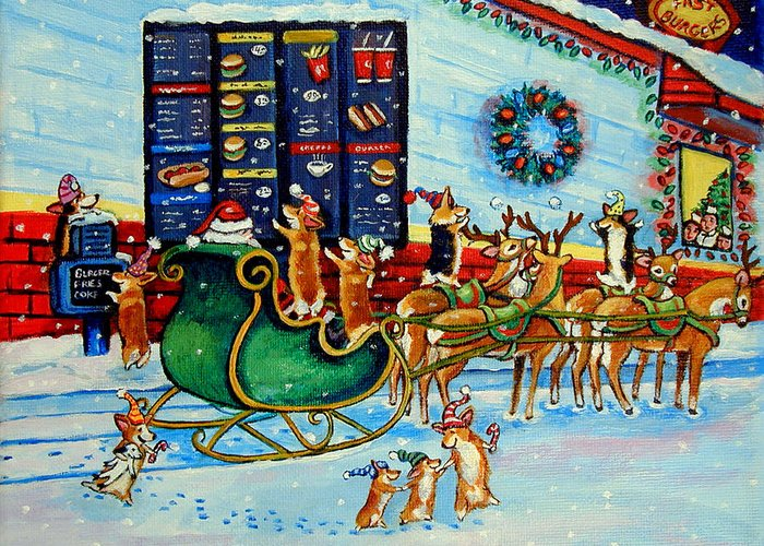 Pembroke Welsh Corgi Greeting Card featuring the painting Santa's Pit Stop On December 24th by Lyn Cook
