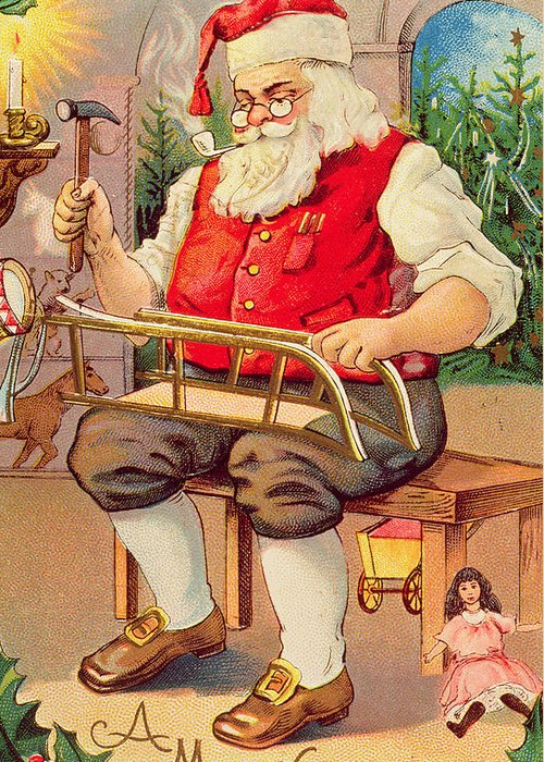 Christmas Card Greeting Card featuring the painting Santa's Workshop by English School